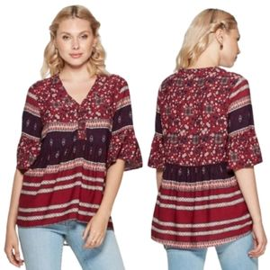 Knox Rose Boho Floral Bell Sleeve Flare Blouse, L